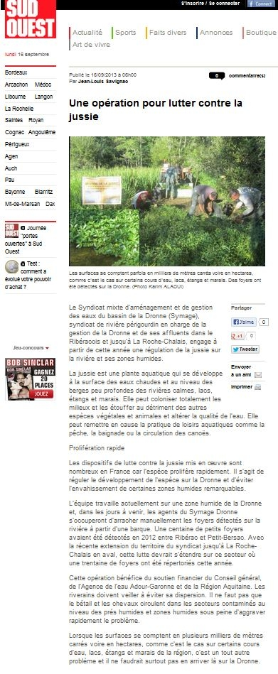 article 16 09 13 gestion jussie ZH la Riviere